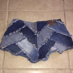 Zana Di Shorts - Zana Di denim patch super low rise shorts